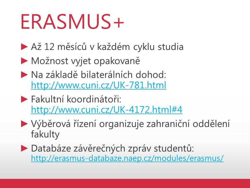 ERASMUS+ ► Až 12 měsíců v každém cyklu studia ► Možnost vyjet opakovaně ► Na základě bilaterálních dohod: http://www.cuni.cz/UK-781.html http://www.cuni.cz/UK-781.html ► Fakultní koordinátoři: http://www.cuni.cz/UK-4172.html#4 http://www.cuni.cz/UK-4172.html#4 ► Výběrová řízení organizuje zahraniční oddělení fakulty ► Databáze závěrečných zpráv studentů: http://erasmus-databaze.naep.cz/modules/erasmus/ http://erasmus-databaze.naep.cz/modules/erasmus/