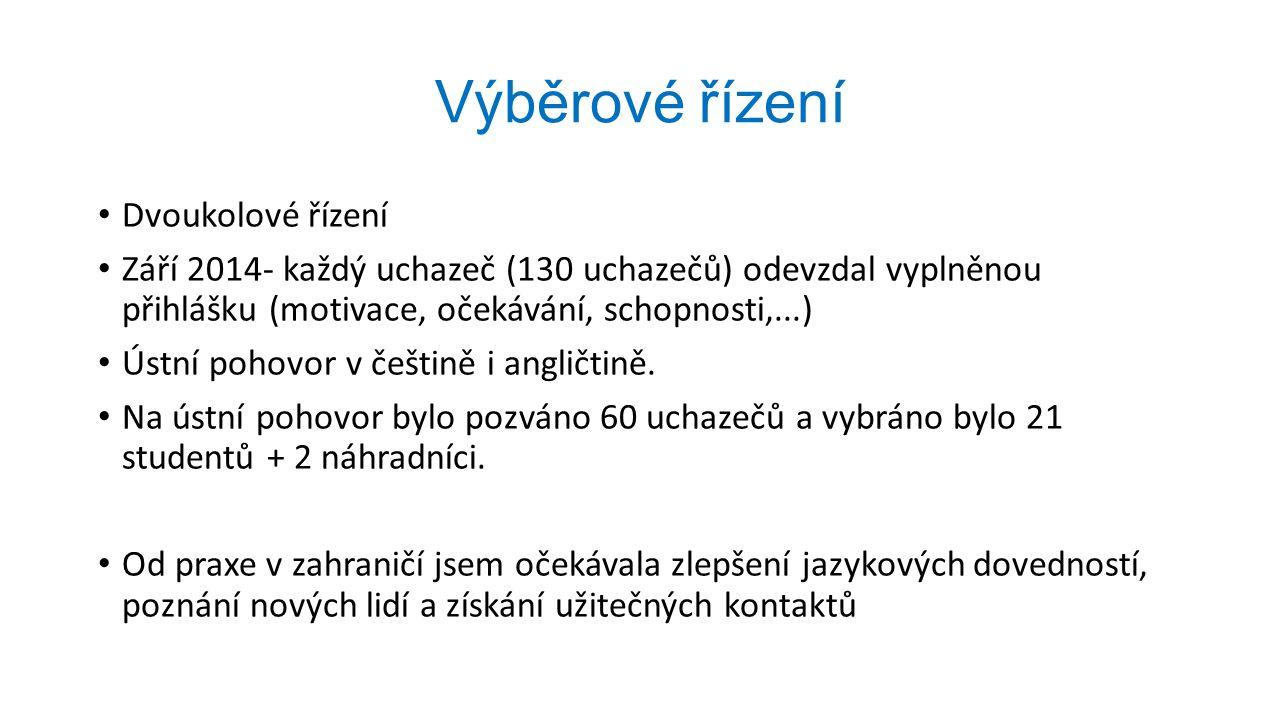 Výběrové řízení Dvoukolové řízení Září 2014- každý uchazeč (130 uchazečů) odevzdal vyplněnou přihlášku (motivace, očekávání, schopnosti,...) Ústní pohovor v češtině i angličtině.