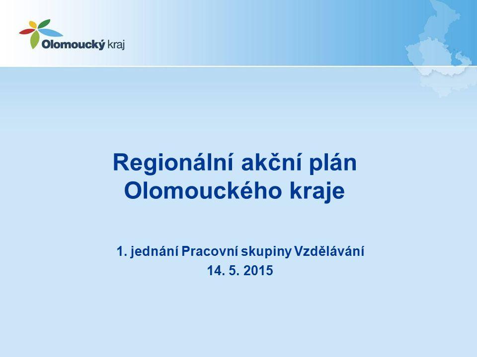 Regionální akční plán Olomouckého kraje 1. jednání Pracovní skupiny Vzdělávání 14. 5. 2015
