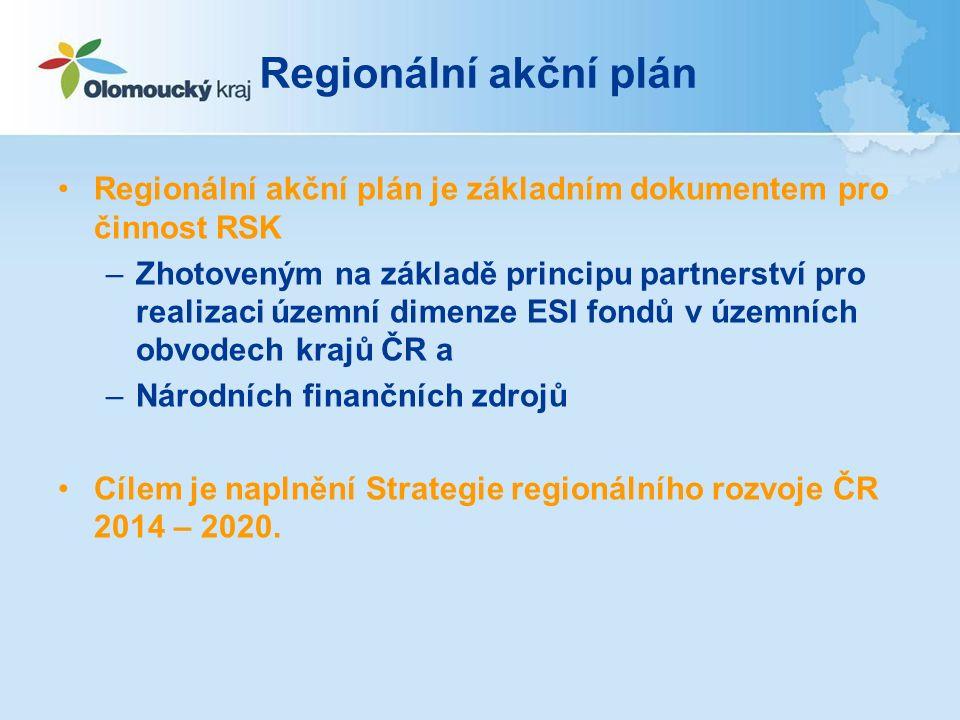 Regionální akční plán Regionální akční plán je základním dokumentem pro činnost RSK –Zhotoveným na základě principu partnerství pro realizaci územní dimenze ESI fondů v územních obvodech krajů ČR a –Národních finančních zdrojů Cílem je naplnění Strategie regionálního rozvoje ČR 2014 – 2020.