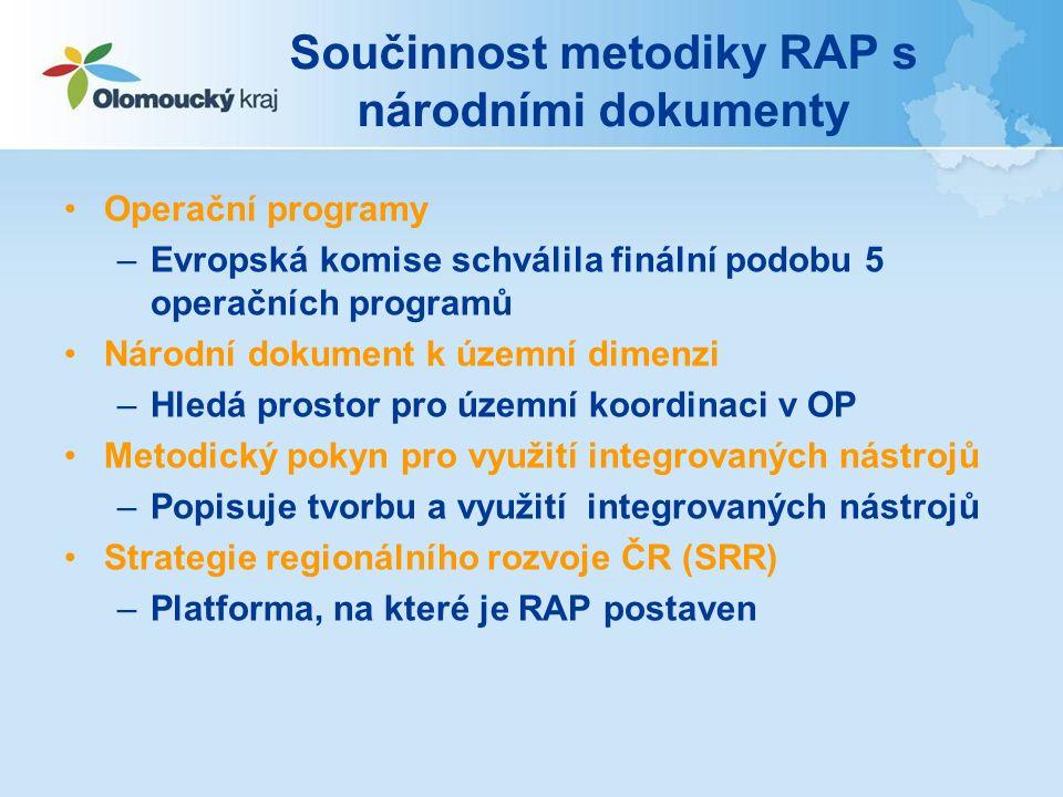 Součinnost metodiky RAP s národními dokumenty Operační programy –Evropská komise schválila finální podobu 5 operačních programů Národní dokument k územní dimenzi –Hledá prostor pro územní koordinaci v OP Metodický pokyn pro využití integrovaných nástrojů –Popisuje tvorbu a využití integrovaných nástrojů Strategie regionálního rozvoje ČR (SRR) –Platforma, na které je RAP postaven