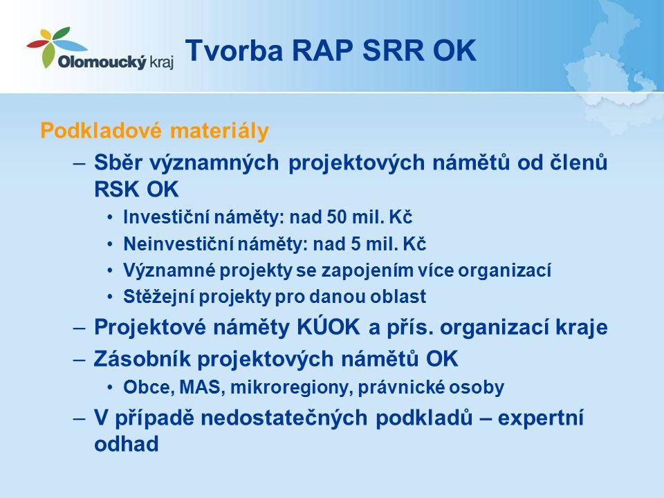Tvorba RAP SRR OK Podkladové materiály –Sběr významných projektových námětů od členů RSK OK Investiční náměty: nad 50 mil.