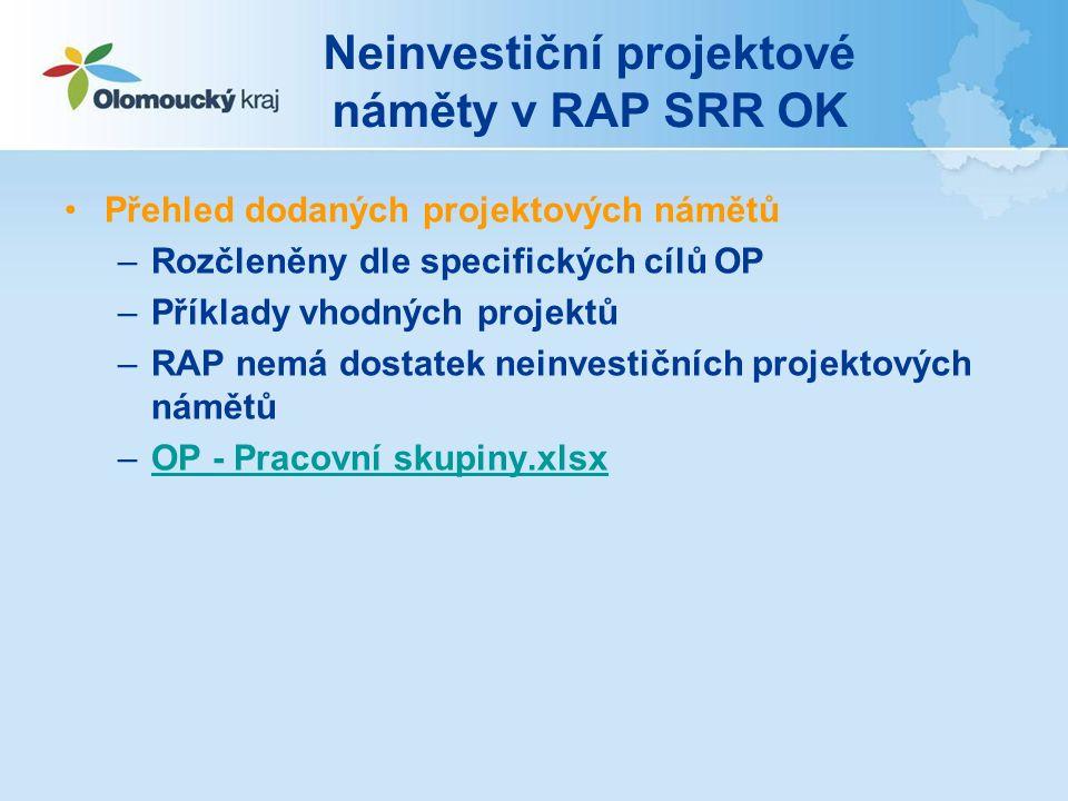Neinvestiční projektové náměty v RAP SRR OK Přehled dodaných projektových námětů –Rozčleněny dle specifických cílů OP –Příklady vhodných projektů –RAP nemá dostatek neinvestičních projektových námětů –OP - Pracovní skupiny.xlsxOP - Pracovní skupiny.xlsx