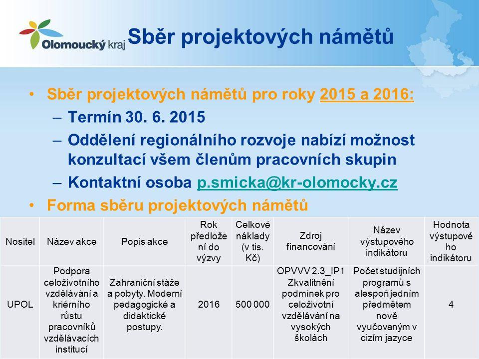 Sběr projektových námětů Sběr projektových námětů pro roky 2015 a 2016: –Termín 30.