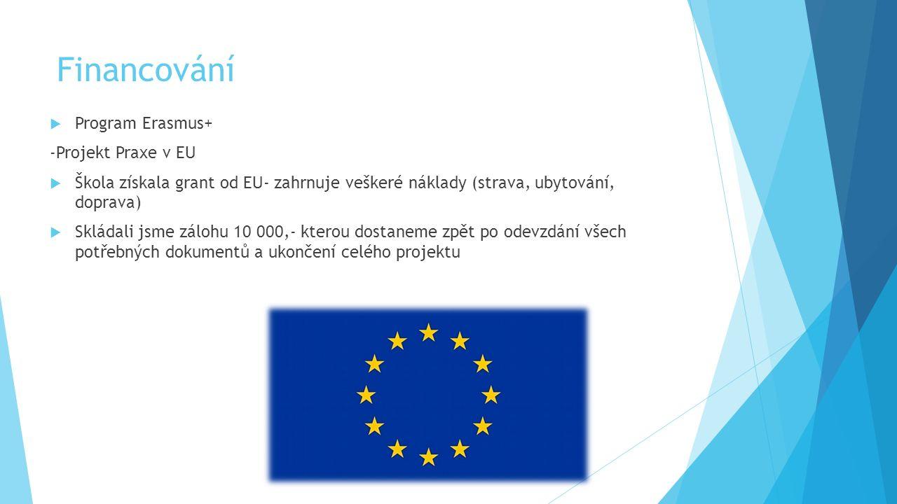 Financování  Program Erasmus+ -Projekt Praxe v EU  Škola získala grant od EU- zahrnuje veškeré náklady (strava, ubytování, doprava)  Skládali jsme zálohu 10 000,- kterou dostaneme zpět po odevzdání všech potřebných dokumentů a ukončení celého projektu