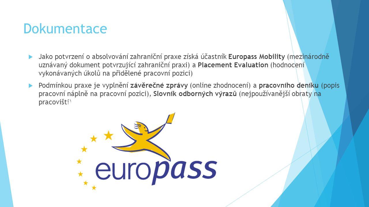 Dokumentace  Jako potvrzení o absolvování zahraniční praxe získá účastník Europass Mobility (mezinárodně uznávaný dokument potvrzující zahraniční praxi) a Placement Evaluation (hodnocení vykonávaných úkolů na přidělené pracovní pozici)  Podmínkou praxe je vyplnění závěrečné zprávy (online zhodnocení) a pracovního deníku (popis pracovní náplně na pracovní pozici), Slovník odborných výrazů (nejpoužívanější obraty na pracovišti)