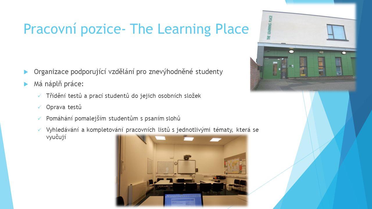 Pracovní pozice- The Learning Place  Organizace podporující vzdělání pro znevýhodněné studenty  Má náplň práce: Třídění testů a prací studentů do jejich osobních složek Oprava testů Pomáhání pomalejším studentům s psaním slohů Vyhledávání a kompletování pracovních listů s jednotlivými tématy, která se vyučují