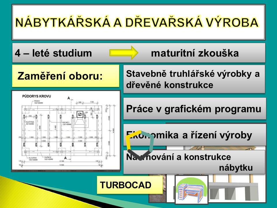 4 – leté studium maturitní zkouška Stavebně truhlářské výrobky a dřevěné konstrukce Ekonomika a řízení výroby Navrhování a konstrukce nábytku Zaměření oboru: Práce v grafickém programu TURBOCAD