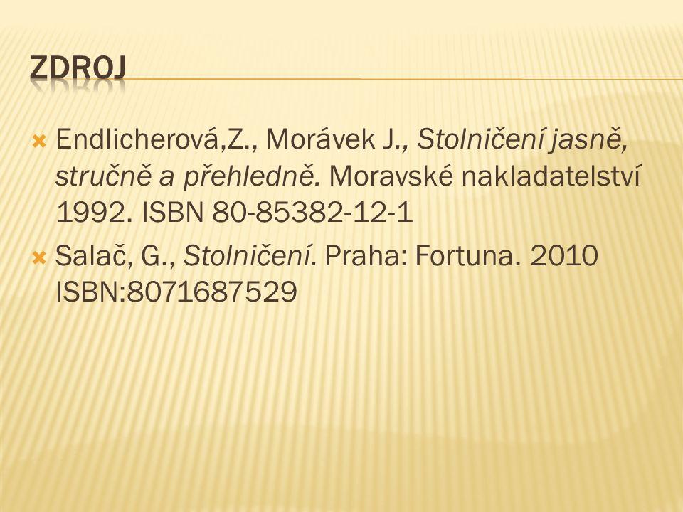  Endlicherová,Z., Morávek J., Stolničení jasně, stručně a přehledně. Moravské nakladatelství 1992. ISBN 80-85382-12-1  Salač, G., Stolničení. Praha: