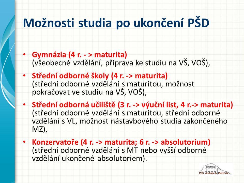 Možnosti studia po ukončení PŠD Gymnázia (4 r.