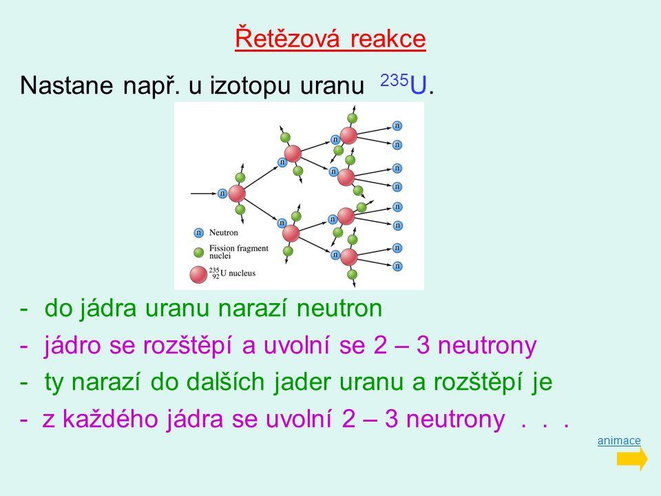 Řetězová reakce Nastane např. u izotopu uranu 235 U. -do jádra uranu narazí neutron -jádro se rozštěpí a uvolní se 2 – 3 neutrony -ty narazí do dalšíc