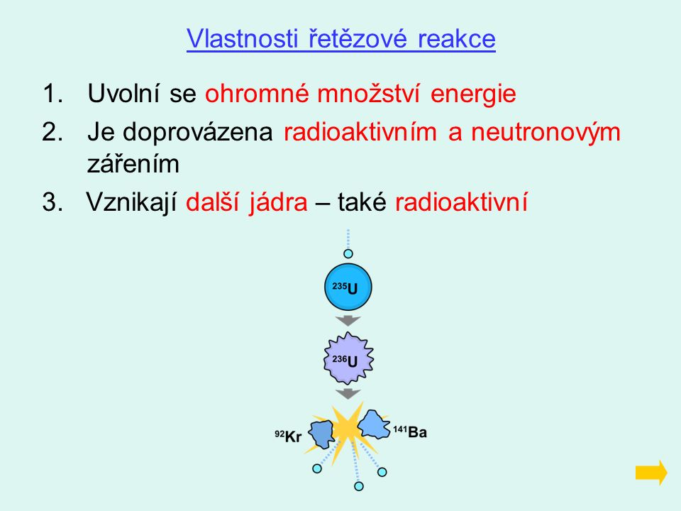 1.Uvolní se ohromné množství energie 2.Je doprovázena radioaktivním a neutronovým zářením 3. Vznikají další jádra – také radioaktivní Vlastnosti řetěz