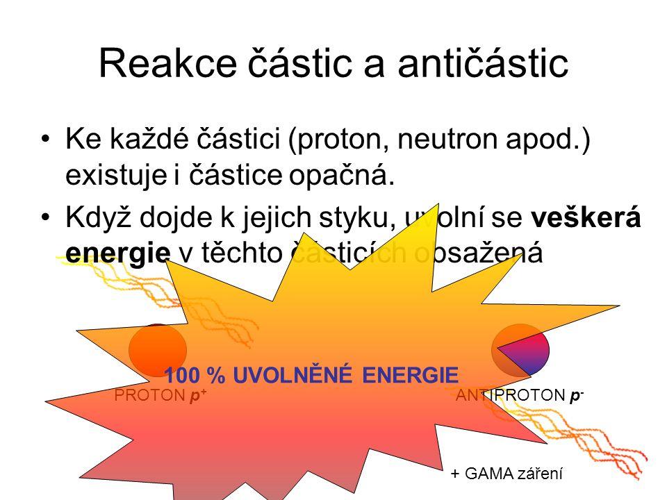 Reakce částic a antičástic Ke každé částici (proton, neutron apod.) existuje i částice opačná.