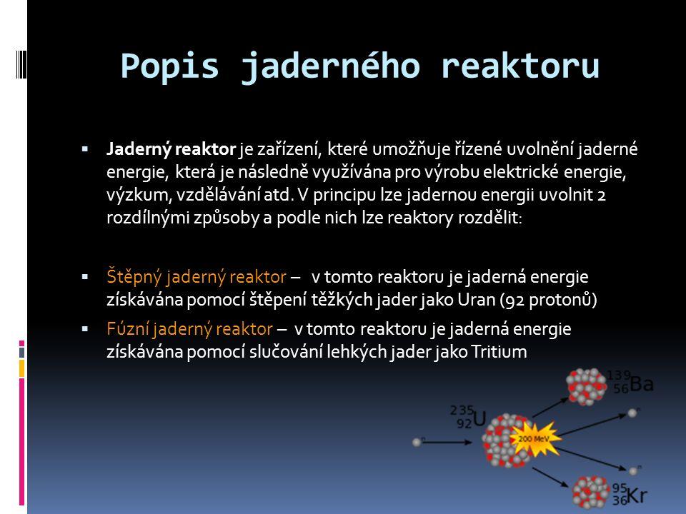 Popis jaderného reaktoru  Jaderný reaktor je zařízení, které umožňuje řízené uvolnění jaderné energie, která je následně využívána pro výrobu elektrické energie, výzkum, vzdělávání atd.