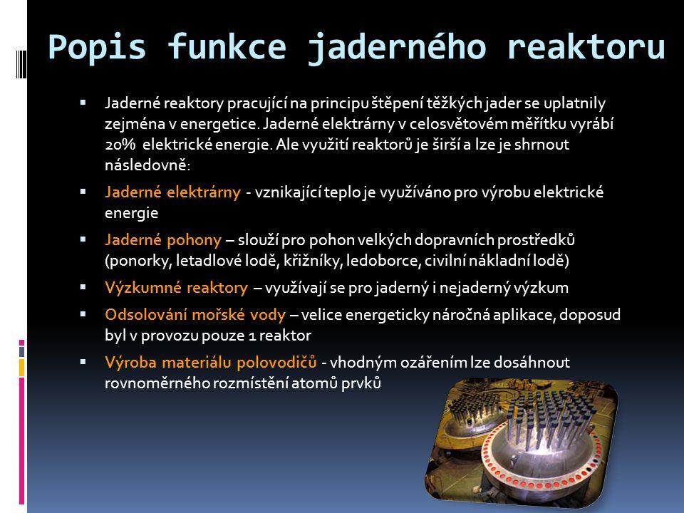 Popis funkce jaderného reaktoru  Jaderné reaktory pracující na principu štěpení těžkých jader se uplatnily zejména v energetice.