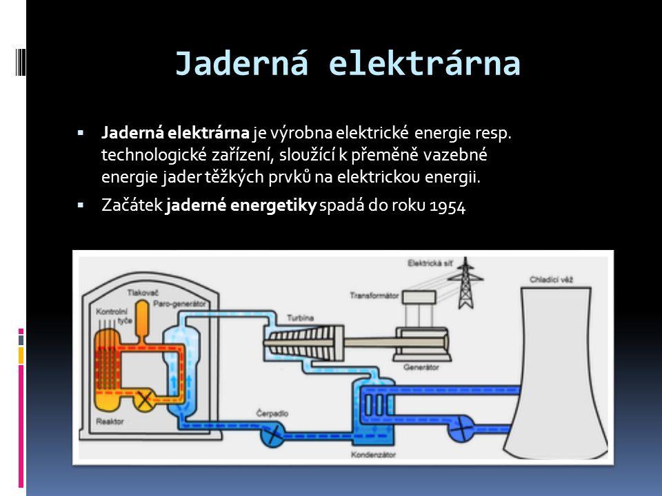 Jaderná elektrárna  Jaderná elektrárna je výrobna elektrické energie resp.