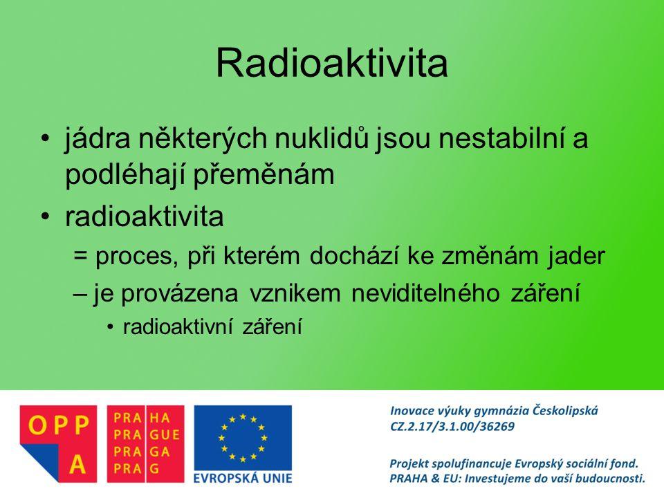 Radioaktivita jádra některých nuklidů jsou nestabilní a podléhají přeměnám radioaktivita = proces, při kterém dochází ke změnám jader –je provázena vznikem neviditelného záření radioaktivní záření