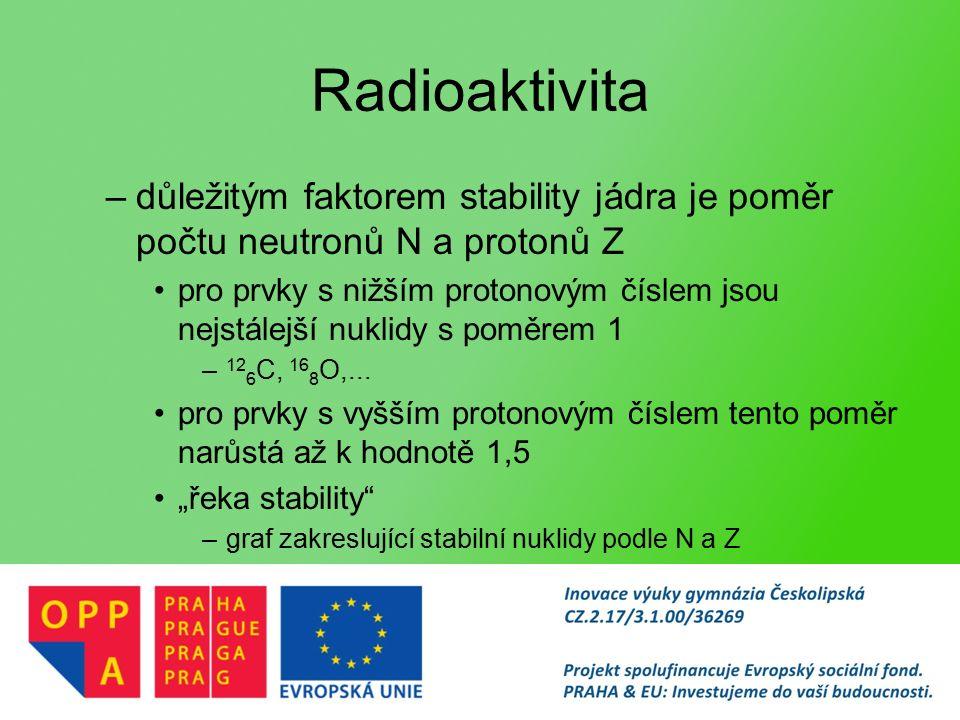 Radioaktivita –důležitým faktorem stability jádra je poměr počtu neutronů N a protonů Z pro prvky s nižším protonovým číslem jsou nejstálejší nuklidy s poměrem 1 – 12 6 C, 16 8 O,...