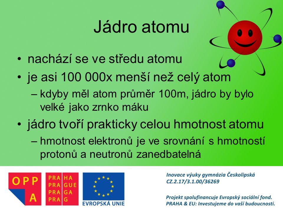 Jádro atomu nachází se ve středu atomu je asi 100 000x menší než celý atom –kdyby měl atom průměr 100m, jádro by bylo velké jako zrnko máku jádro tvoří prakticky celou hmotnost atomu –hmotnost elektronů je ve srovnání s hmotností protonů a neutronů zanedbatelná
