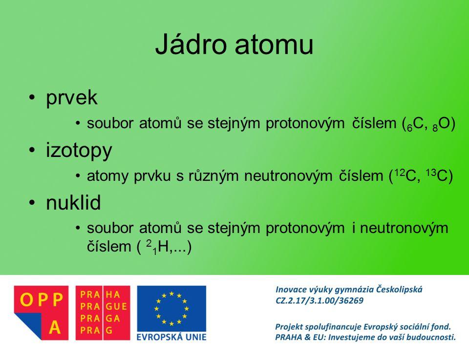 Jádro atomu prvek soubor atomů se stejným protonovým číslem ( 6 C, 8 O) izotopy atomy prvku s různým neutronovým číslem ( 12 C, 13 C) nuklid soubor atomů se stejným protonovým i neutronovým číslem ( 2 1 H,...)