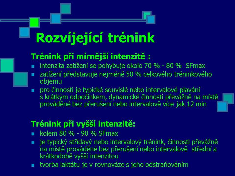 Rozvíjející trénink Trénink při mírnější intenzitě : intenzita zatížení se pohybuje okolo 70 % - 80 % SFmax zatížení představuje nejméně 50 % celkovéh