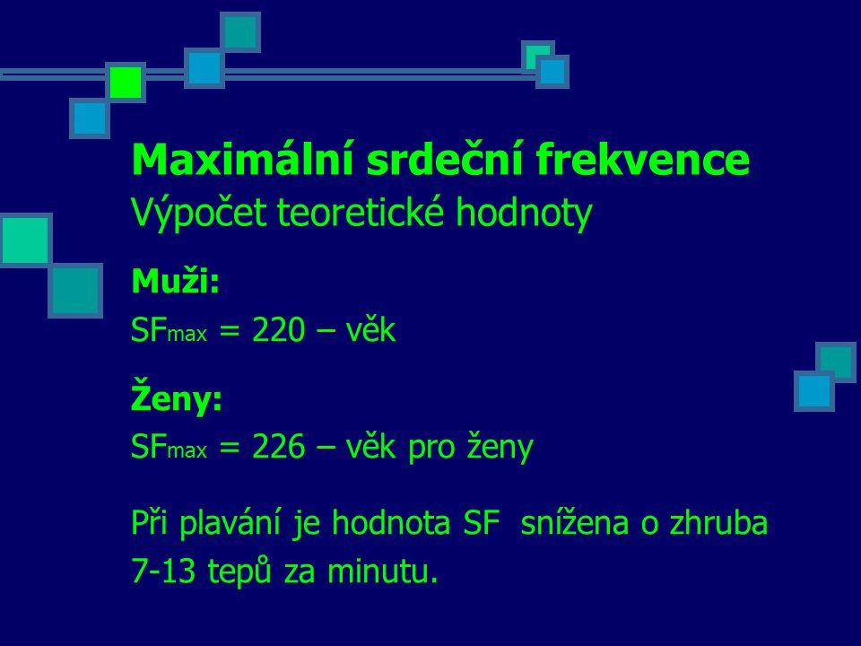 Maximální srdeční frekvence Výpočet teoretické hodnoty Muži: SF max = 220 – věk Ženy: SF max = 226 – věk pro ženy Při plavání je hodnota SF snížena o