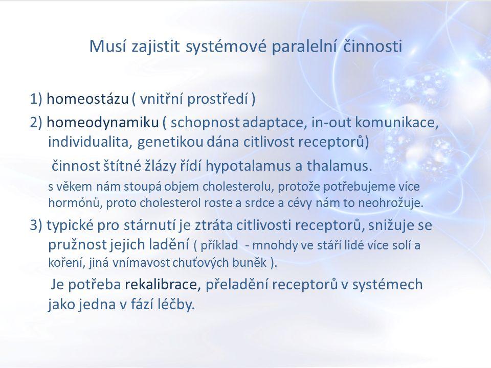 Musí zajistit systémové paralelní činnosti 1) homeostázu ( vnitřní prostředí ) 2) homeodynamiku ( schopnost adaptace, in-out komunikace, individualita, genetikou dána citlivost receptorů) činnost štítné žlázy řídí hypotalamus a thalamus.