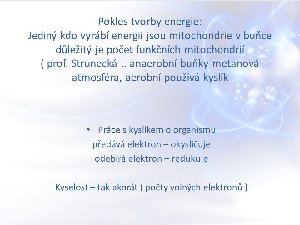 Pokles tvorby energie: Jediný kdo vyrábí energii jsou mitochondrie v buňce důležitý je počet funkčních mitochondrií ( prof.