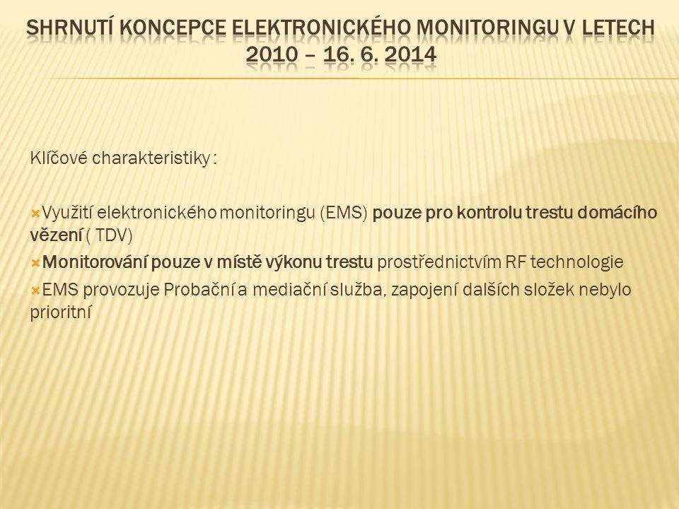 Klíčové charakteristiky :  Využití elektronického monitoringu (EMS) pouze pro kontrolu trestu domácího vězení ( TDV)  Monitorování pouze v místě výkonu trestu prostřednictvím RF technologie  EMS provozuje Probační a mediační služba, zapojení dalších složek nebylo prioritní