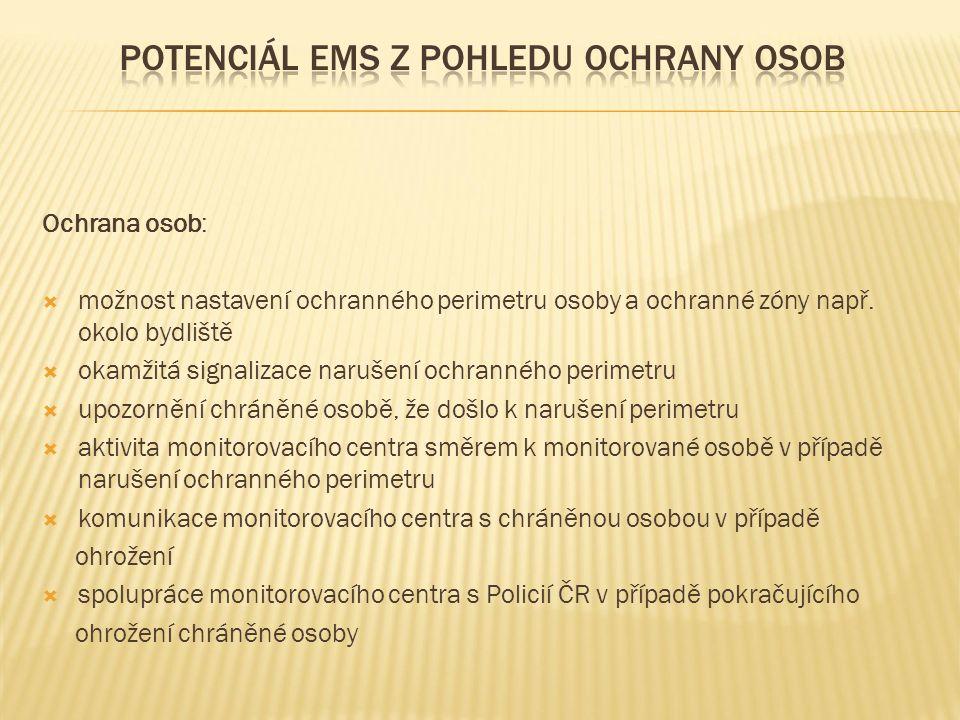 Ochrana osob:  možnost nastavení ochranného perimetru osoby a ochranné zóny např.