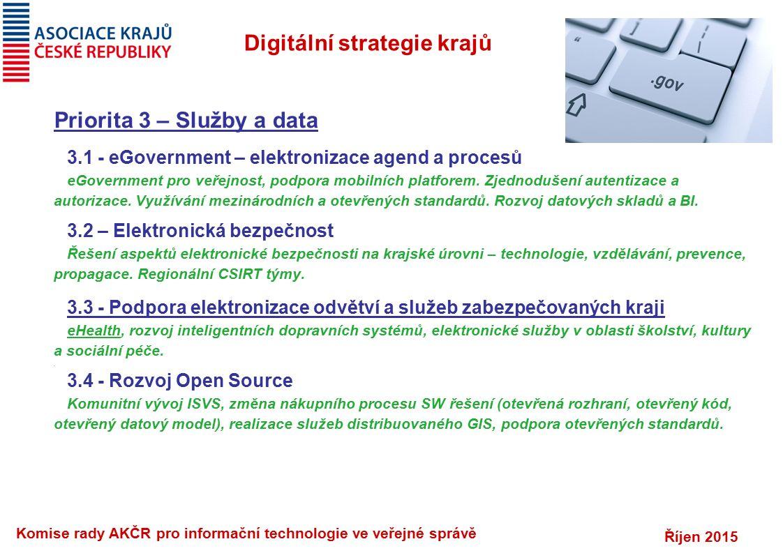 Říjen 2015 Komise rady AKČR pro informační technologie ve veřejné správě Digitální strategie krajů Priorita 3 – Služby a data 3.1 - eGovernment – elek