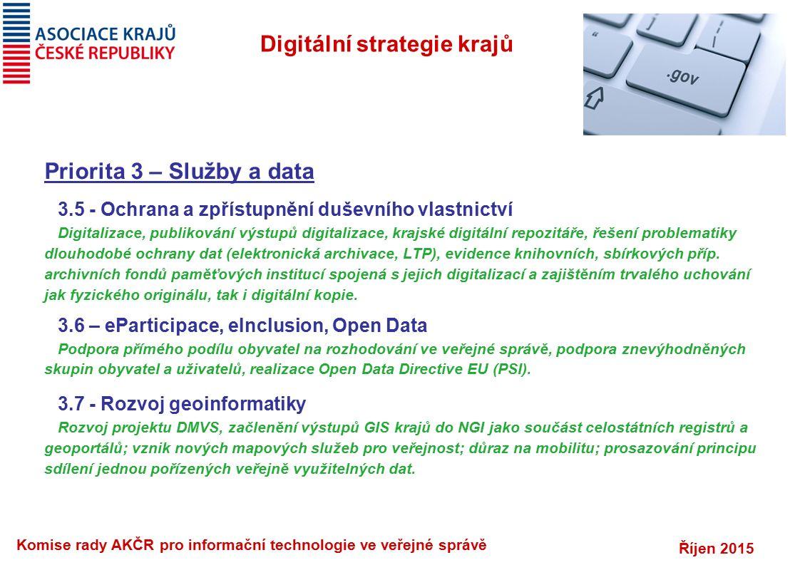 Říjen 2015 Komise rady AKČR pro informační technologie ve veřejné správě Digitální strategie krajů Priorita 3 – Služby a data 3.5 - Ochrana a zpřístup
