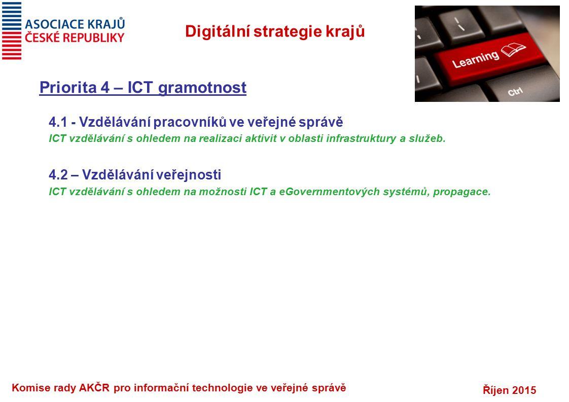 Říjen 2015 Komise rady AKČR pro informační technologie ve veřejné správě Digitální strategie krajů Priorita 4 – ICT gramotnost 4.1 - Vzdělávání pracovníků ve veřejné správě ICT vzdělávání s ohledem na realizaci aktivit v oblasti infrastruktury a služeb.
