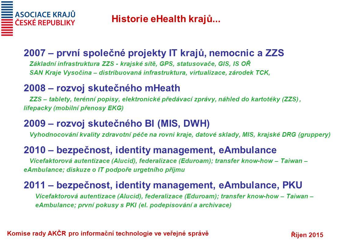 Říjen 2015 Komise rady AKČR pro informační technologie ve veřejné správě Historie eHealth krajů... 2007 – první společné projekty IT krajů, nemocnic a
