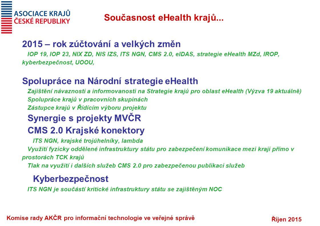Říjen 2015 Komise rady AKČR pro informační technologie ve veřejné správě Současnost eHealth krajů...