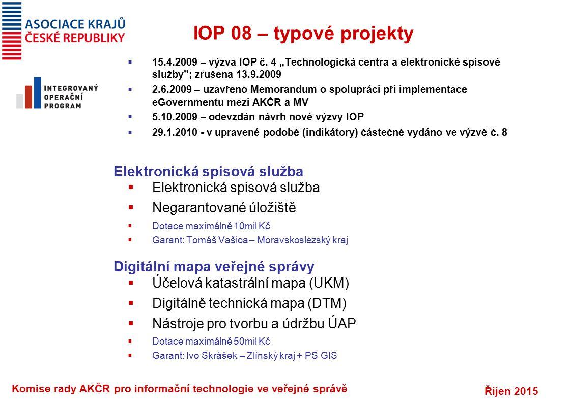 """Říjen 2015 Komise rady AKČR pro informační technologie ve veřejné správě IOP 08 – typové projekty  15.4.2009 – výzva IOP č. 4 """"Technologická centra a"""