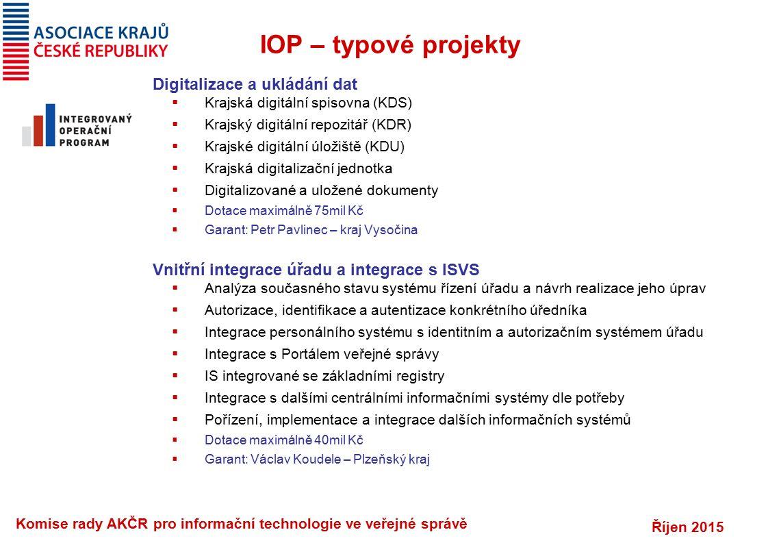 Říjen 2015 Komise rady AKČR pro informační technologie ve veřejné správě IOP – typové projekty Digitalizace a ukládání dat  Krajská digitální spisovn