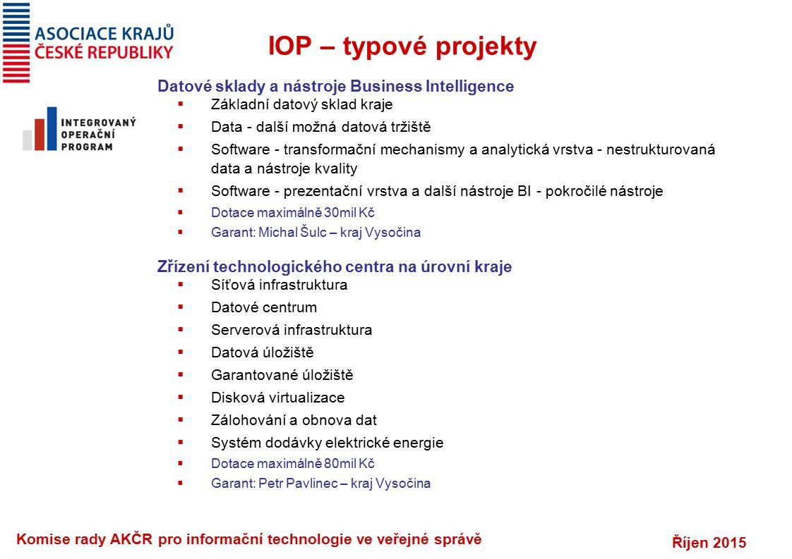 Říjen 2015 Komise rady AKČR pro informační technologie ve veřejné správě IOP 19 a 23 Systémy výměny ZD v rámci krajů (13xZZS, 2xFN, 36xNem)