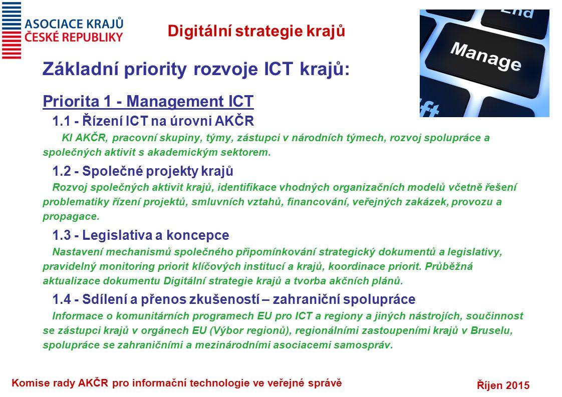 Říjen 2015 Komise rady AKČR pro informační technologie ve veřejné správě Digitální strategie krajů Základní priority rozvoje ICT krajů: Priorita 1 - Management ICT 1.1 - Řízení ICT na úrovni AKČR KI AKČR, pracovní skupiny, týmy, zástupci v národních týmech, rozvoj spolupráce a společných aktivit s akademickým sektorem.