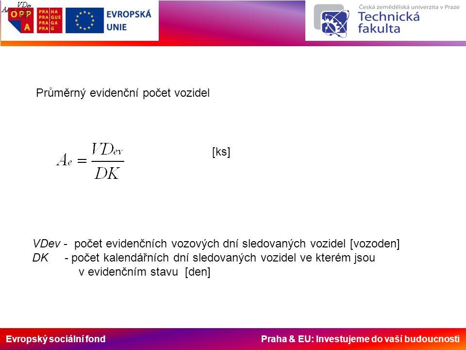Evropský sociální fond Praha & EU: Investujeme do vaší budoucnosti Průměrný evidenční počet vozidel VDev - počet evidenčních vozových dní sledovaných