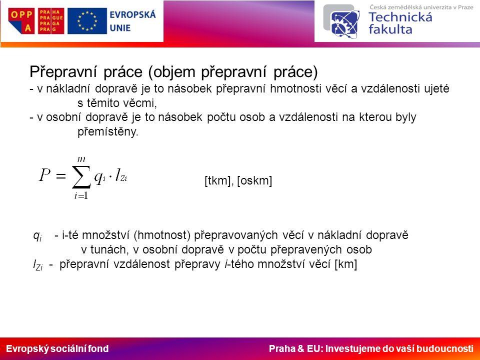 Evropský sociální fond Praha & EU: Investujeme do vaší budoucnosti Přepravní práce (objem přepravní práce) - v nákladní dopravě je to násobek přepravn