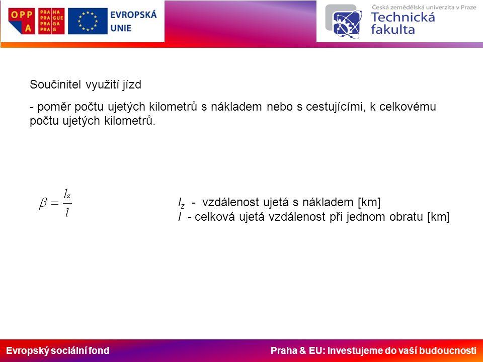 Evropský sociální fond Praha & EU: Investujeme do vaší budoucnosti Součinitel využití jízd - poměr počtu ujetých kilometrů s nákladem nebo s cestující