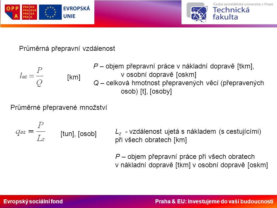 Evropský sociální fond Praha & EU: Investujeme do vaší budoucnosti Průměrná přepravní vzdálenost [km] P – objem přepravní práce v nákladní dopravě [tk