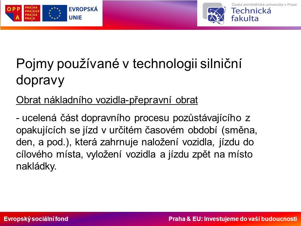 Evropský sociální fond Praha & EU: Investujeme do vaší budoucnosti Pojmy používané v technologii silniční dopravy Obrat nákladního vozidla-přepravní o
