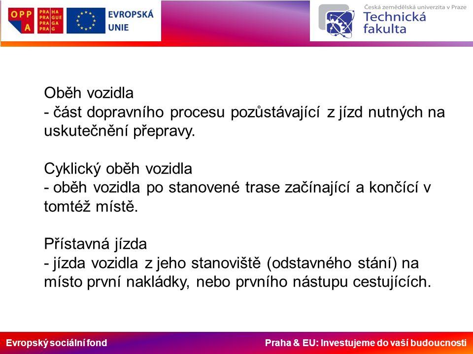 Evropský sociální fond Praha & EU: Investujeme do vaší budoucnosti Oběh vozidla - část dopravního procesu pozůstávající z jízd nutných na uskutečnění