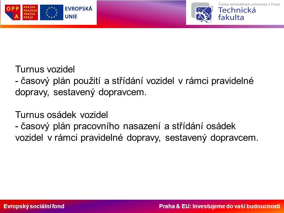 Evropský sociální fond Praha & EU: Investujeme do vaší budoucnosti Turnus vozidel - časový plán použití a střídání vozidel v rámci pravidelné dopravy,