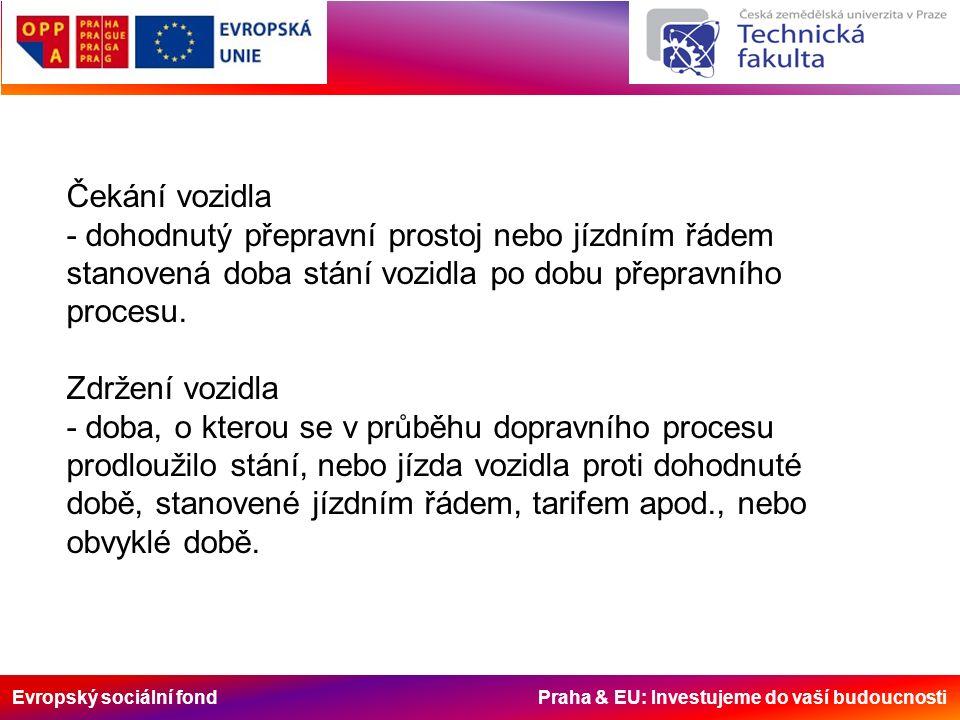 Evropský sociální fond Praha & EU: Investujeme do vaší budoucnosti Čekání vozidla - dohodnutý přepravní prostoj nebo jízdním řádem stanovená doba stán