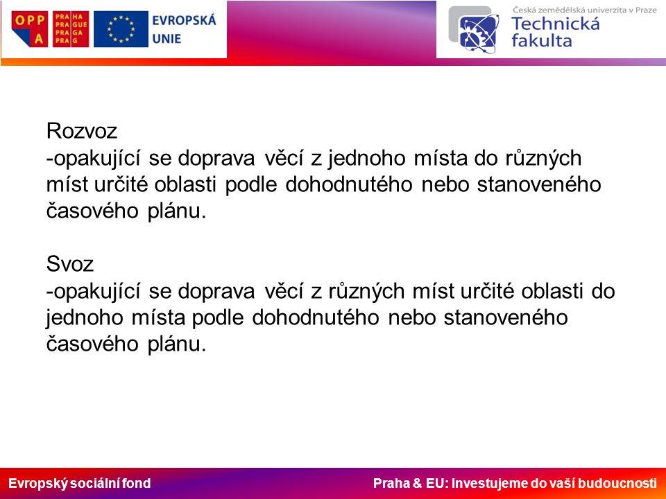 Evropský sociální fond Praha & EU: Investujeme do vaší budoucnosti Rozvoz -opakující se doprava věcí z jednoho místa do různých míst určité oblasti po