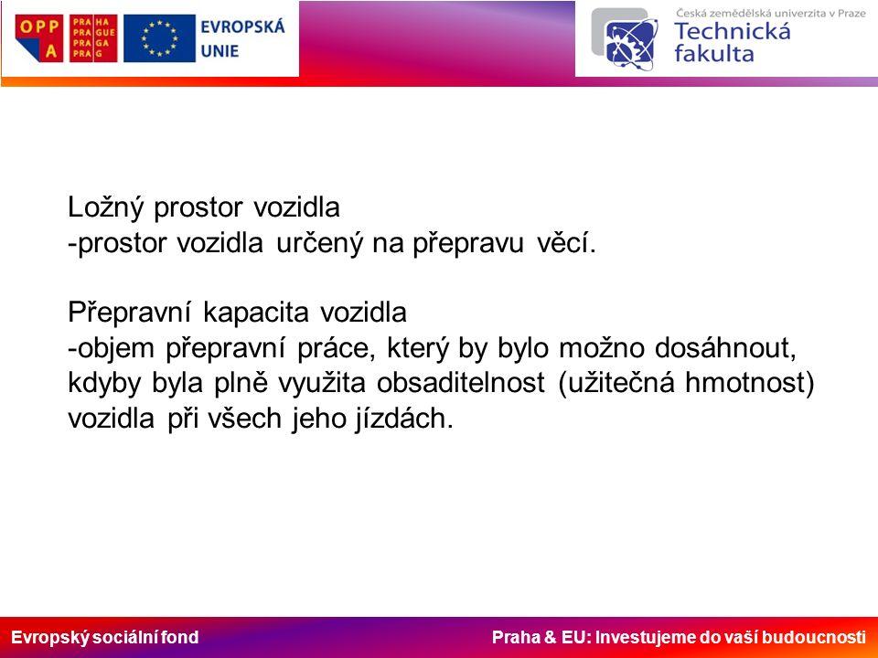 Evropský sociální fond Praha & EU: Investujeme do vaší budoucnosti Ložný prostor vozidla -prostor vozidla určený na přepravu věcí. Přepravní kapacita