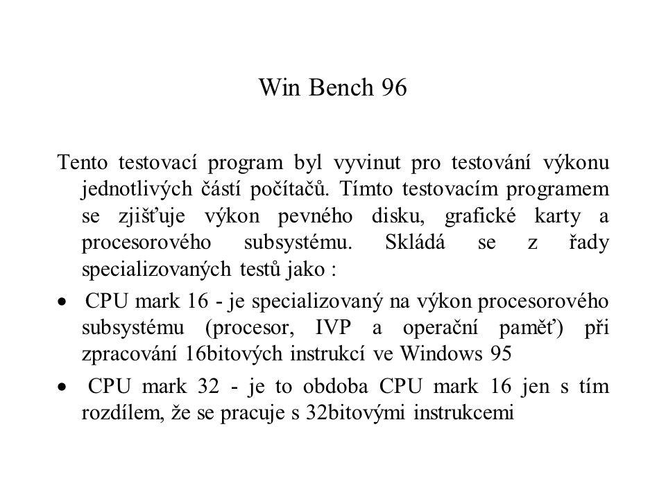 Win Bench 96 Tento testovací program byl vyvinut pro testování výkonu jednotlivých částí počítačů. Tímto testovacím programem se zjišťuje výkon pevnéh